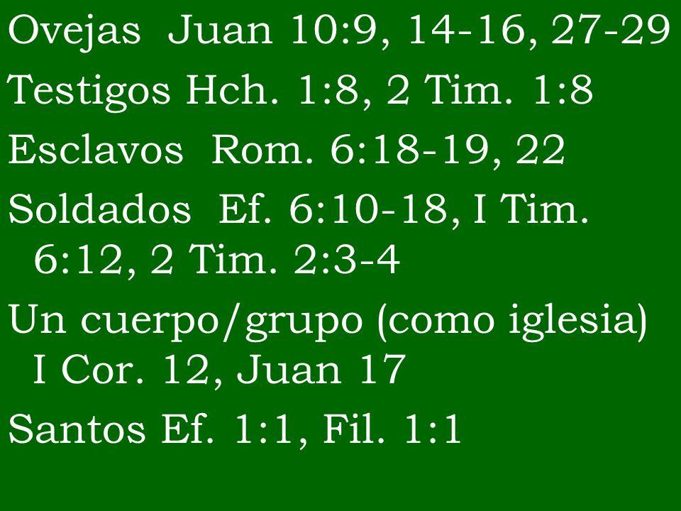 Ovejas Juan 10:9, 14-16, 27-29 Testigos Hch. 1:8, 2 Tim. 1:8 Esclavos Rom. 6:18-19, 22 Soldados Ef. 6:10-18, I Tim. 6:12, 2 Tim. 2:3-4 Un cuerpo/grupo