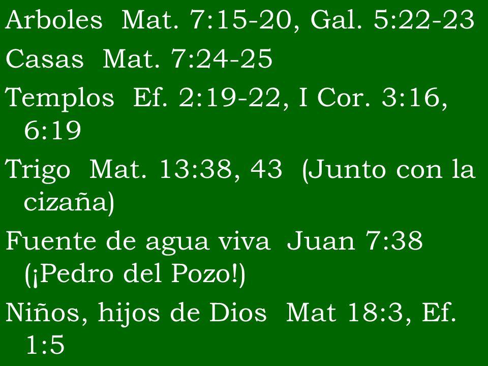 Arboles Mat. 7:15-20, Gal. 5:22-23 Casas Mat. 7:24-25 Templos Ef. 2:19-22, I Cor. 3:16, 6:19 Trigo Mat. 13:38, 43 (Junto con la cizaña) Fuente de agua