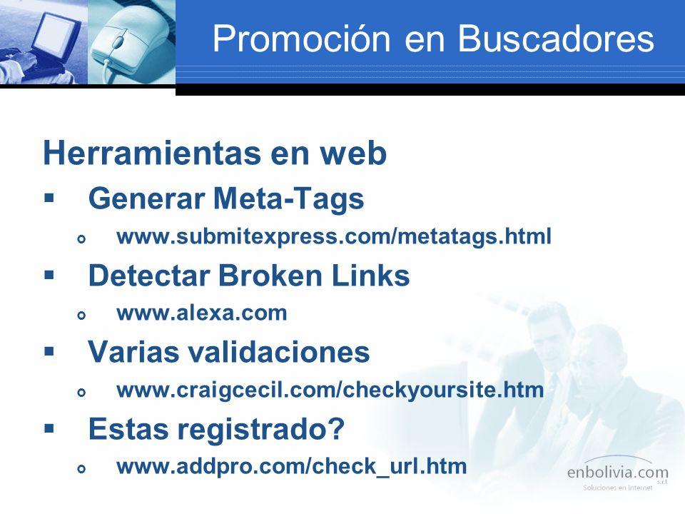 Promoción en Buscadores Herramientas en web Generar Meta-Tags www.submitexpress.com/metatags.html Detectar Broken Links www.alexa.com Varias validaciones www.craigcecil.com/checkyoursite.htm Estas registrado.