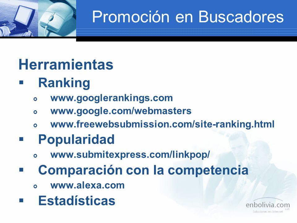 Promoción en Buscadores Herramientas Ranking www.googlerankings.com www.google.com/webmasters www.freewebsubmission.com/site-ranking.html Popularidad www.submitexpress.com/linkpop/ Comparación con la competencia www.alexa.com Estadísticas