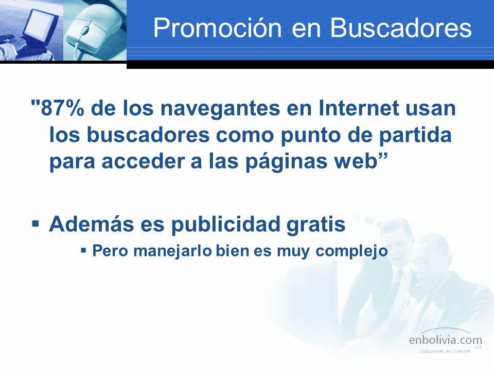 Promoción en Buscadores 87% de los navegantes en Internet usan los buscadores como punto de partida para acceder a las páginas web Además es publicidad gratis Pero manejarlo bien es muy complejo