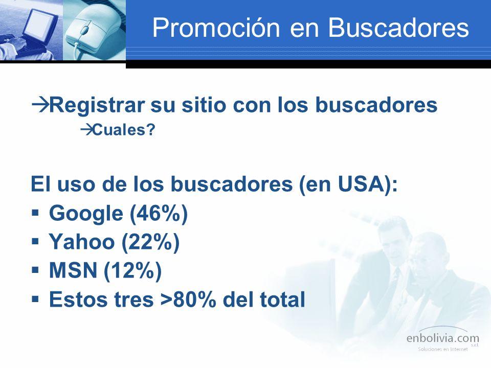 Promoción en Buscadores Registrar su sitio con los buscadores Cuales.