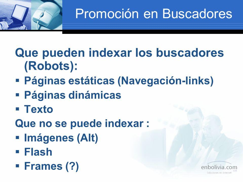 Promoción en Buscadores Que pueden indexar los buscadores (Robots): Páginas estáticas (Navegación-links) Páginas dinámicas Texto Que no se puede indexar : Imágenes (Alt) Flash Frames (?)