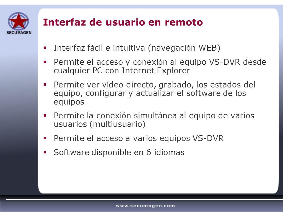 Interfaz f á cil e intuitiva (navegaci ó n WEB) Permite el acceso y conexi ó n al equipo VS-DVR desde cualquier PC con Internet Explorer Permite ver v