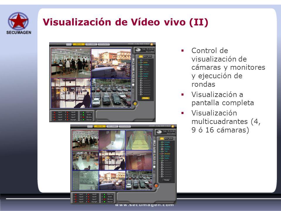 Visualización de Vídeo vivo (II) Control de visualización de cámaras y monitores y ejecución de rondas Visualización a pantalla completa Visualización