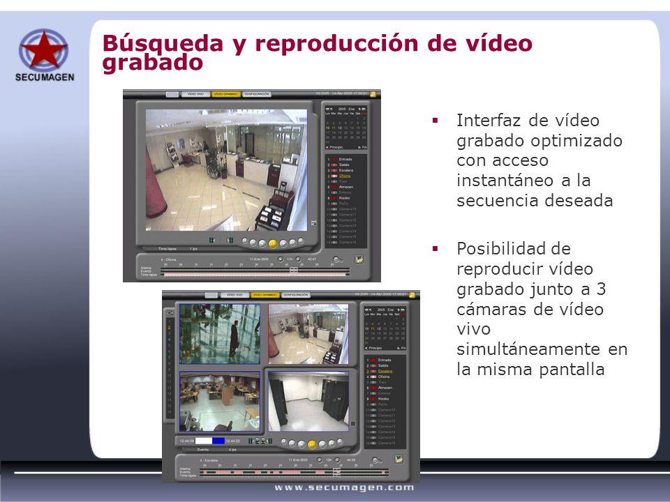 Búsqueda y reproducción de vídeo grabado Interfaz de vídeo grabado optimizado con acceso instantáneo a la secuencia deseada Posibilidad de reproducir