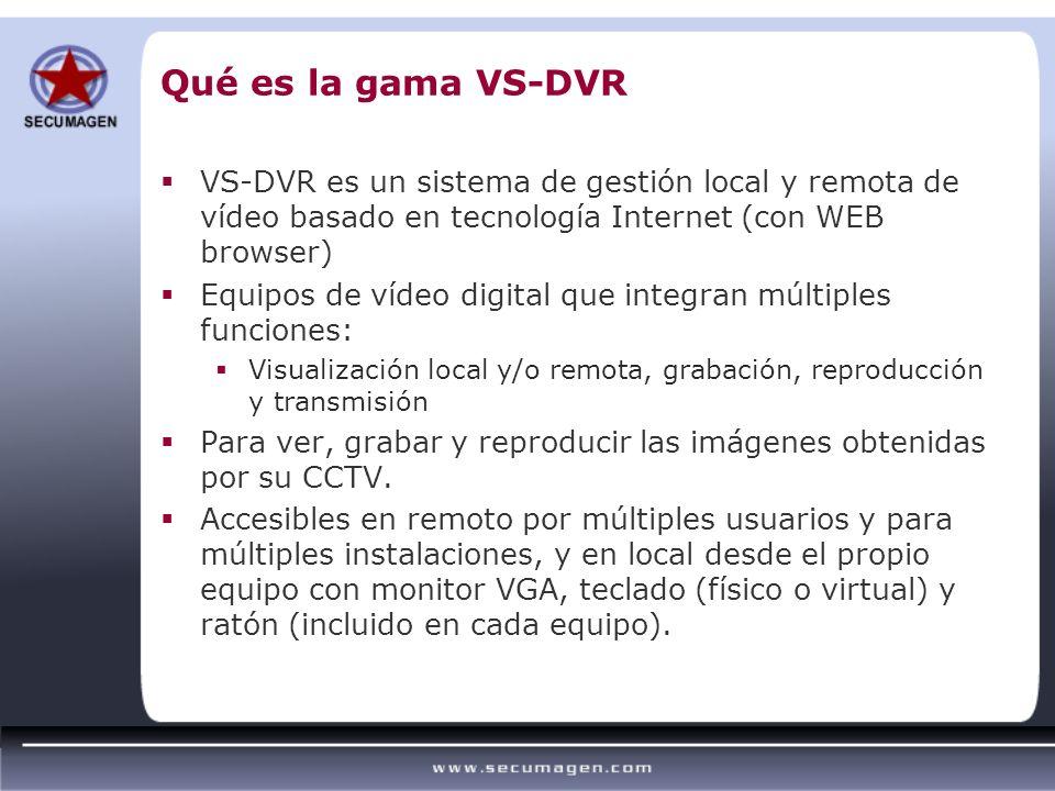 Qué es la gama VS-DVR VS-DVR es un sistema de gestión local y remota de vídeo basado en tecnología Internet (con WEB browser) Equipos de vídeo digital