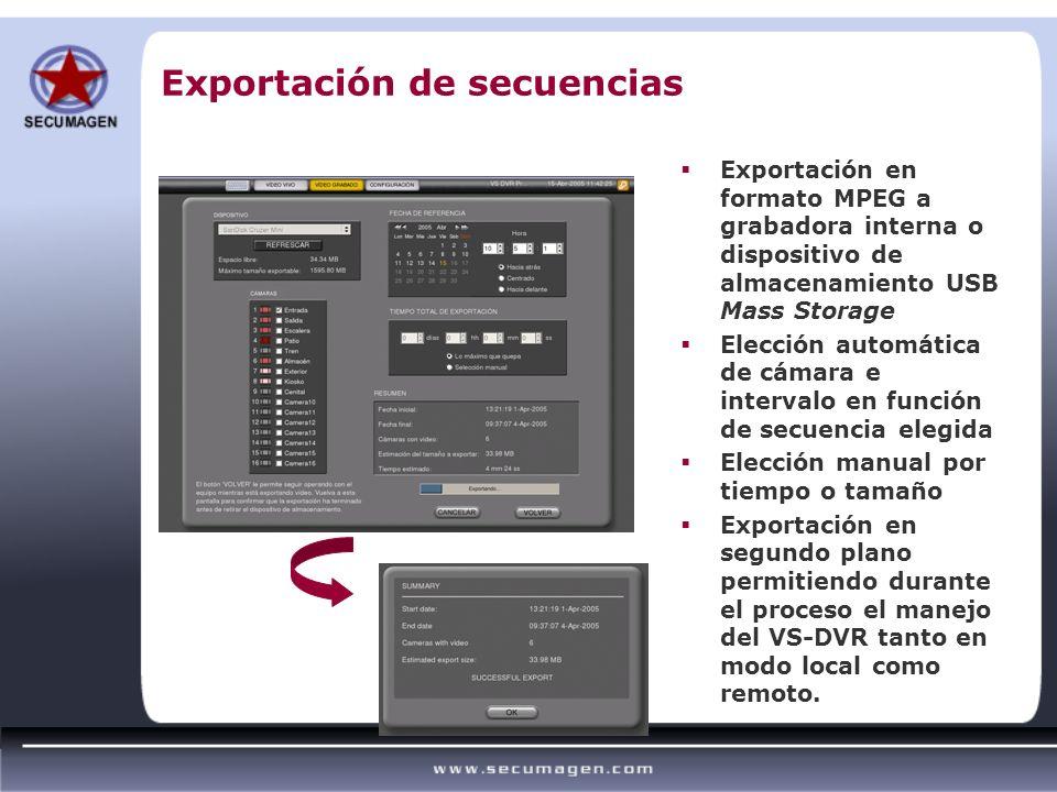 Exportación de secuencias Exportación en formato MPEG a grabadora interna o dispositivo de almacenamiento USB Mass Storage Elección automática de cáma