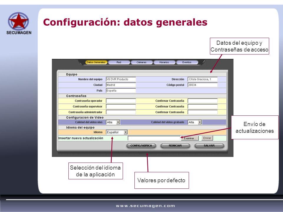 Configuración: datos generales Selección del idioma de la aplicación Envío de actualizaciones Valores por defecto Datos del equipo y Contraseñas de ac