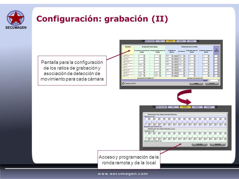 Configuración: grabación (II) Pantalla para la configuración de los ratios de grabación y asociación de detección de movimiento para cada cámara Acces