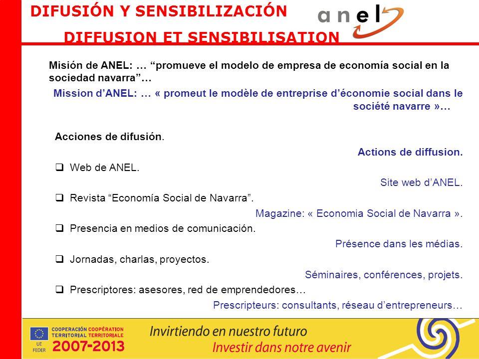 Misión de ANEL: … promueve el modelo de empresa de economía social en la sociedad navarra… Mission dANEL: … « promeut le modèle de entreprise déconomie social dans le société navarre »… Acciones de difusión.