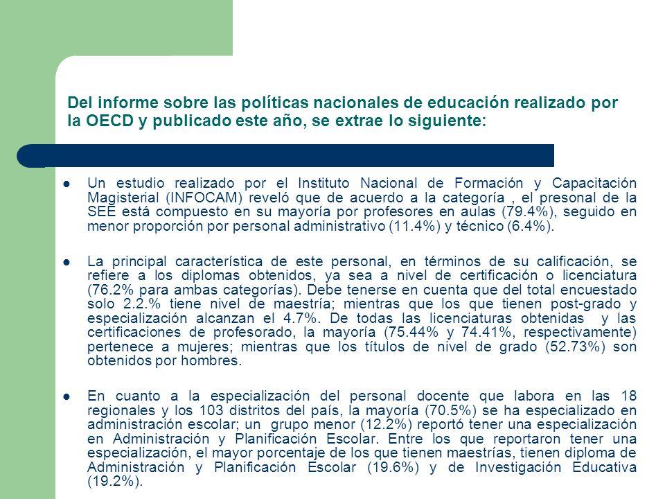 Del informe sobre las políticas nacionales de educación realizado por la OECD y publicado este año, se extrae lo siguiente: Un estudio realizado por e