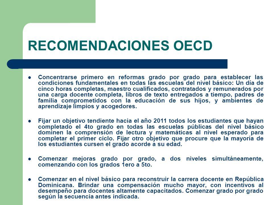 RECOMENDACIONES OECD Concentrarse primero en reformas grado por grado para establecer las condiciones fundamentales en todas las escuelas del nivel bá