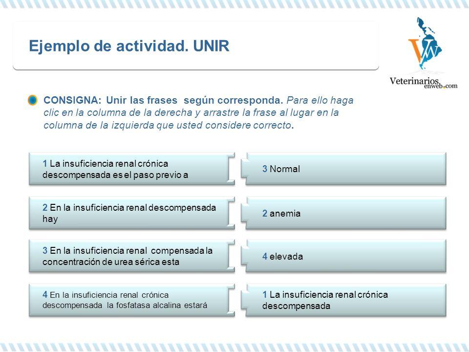 Ejemplo de actividad. UNIR 1 La insuficiencia renal crónica descompensada es el paso previo a 2 En la insuficiencia renal descompensada hay 3 En la in