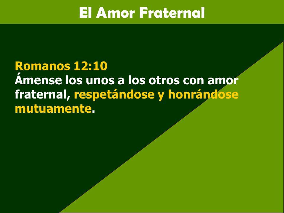 El Amor Fraternal Romanos 12:10 Ámense los unos a los otros con amor fraternal, respetándose y honrándose mutuamente.