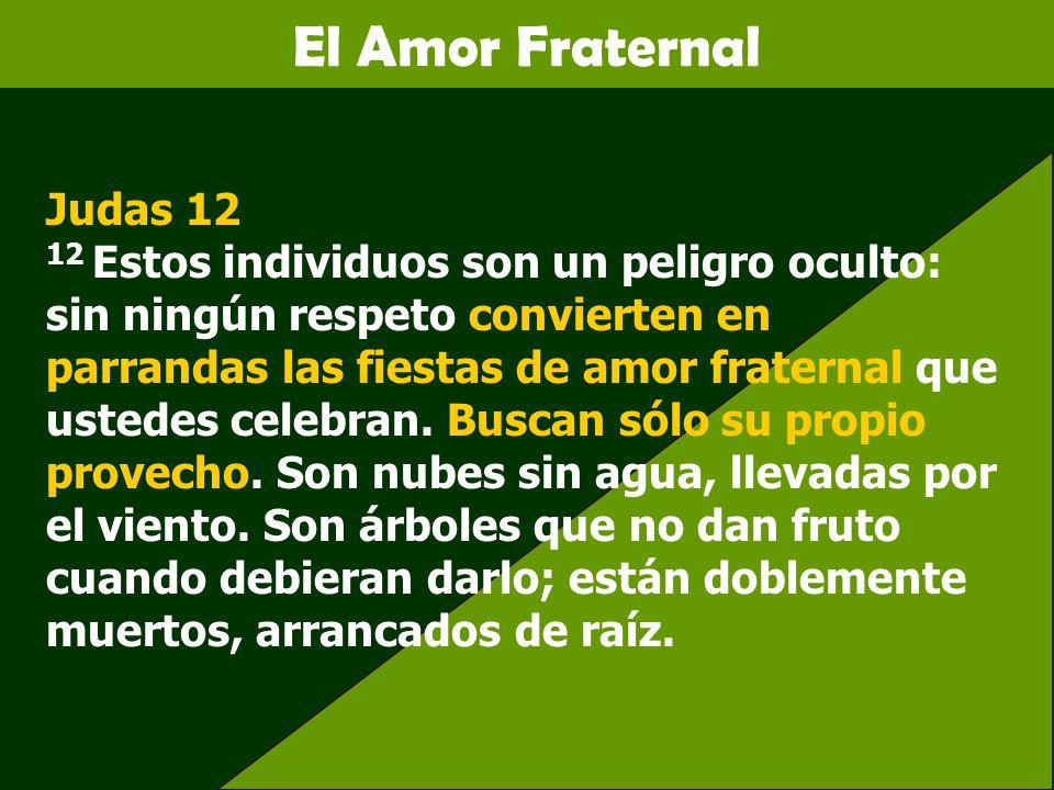 El Amor Fraternal Judas 12 12 Estos individuos son un peligro oculto: sin ningún respeto convierten en parrandas las fiestas de amor fraternal que ust