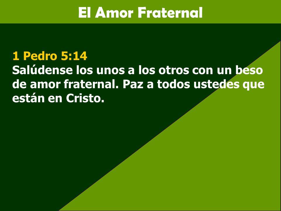 El Amor Fraternal 1 Pedro 5:14 Salúdense los unos a los otros con un beso de amor fraternal. Paz a todos ustedes que están en Cristo.