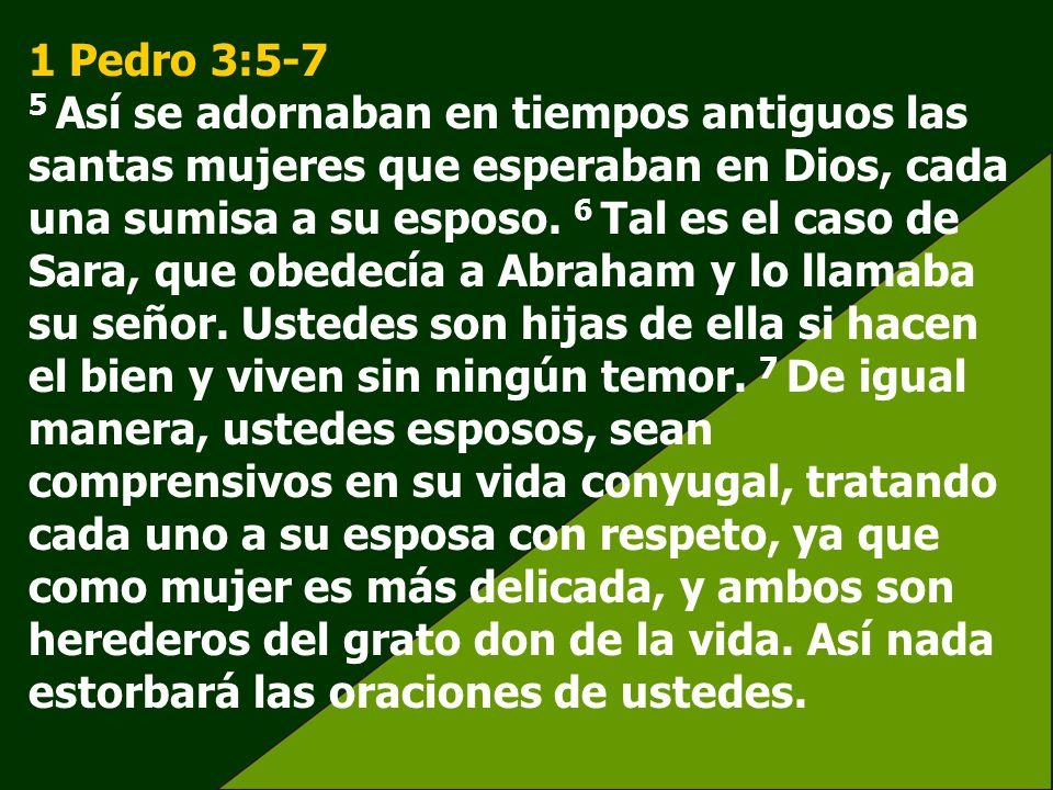 1 Pedro 3:5-7 5 Así se adornaban en tiempos antiguos las santas mujeres que esperaban en Dios, cada una sumisa a su esposo. 6 Tal es el caso de Sara,