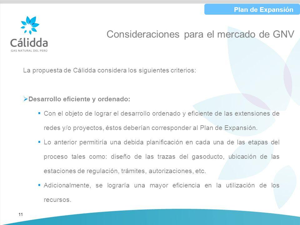 11 Consideraciones para el mercado de GNV La propuesta de Cálidda considera los siguientes criterios: Desarrollo eficiente y ordenado: Con el objeto d