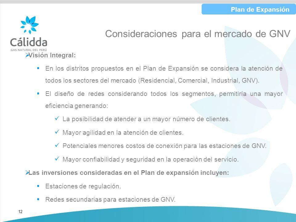 12 Consideraciones para el mercado de GNV Visión Integral: En los distritos propuestos en el Plan de Expansión se considera la atención de todos los s
