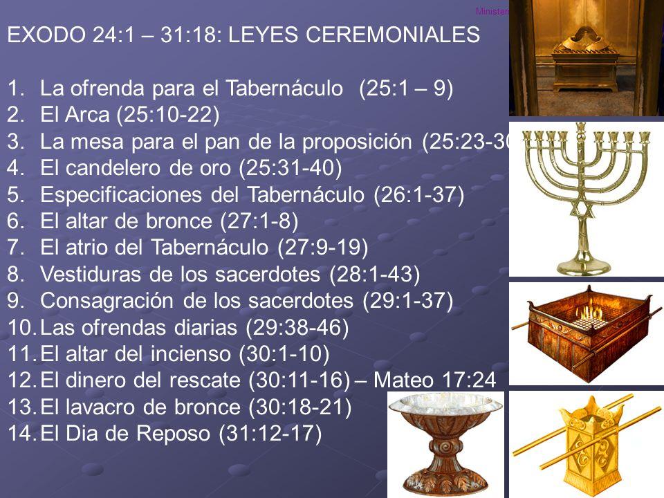 Ministerios EN PROFUNDIDAD 2008 EXODO 24:1 – 31:18: LEYES CEREMONIALES 1.La ofrenda para el Tabernáculo (25:1 – 9) 2.El Arca (25:10-22) 3.La mesa para