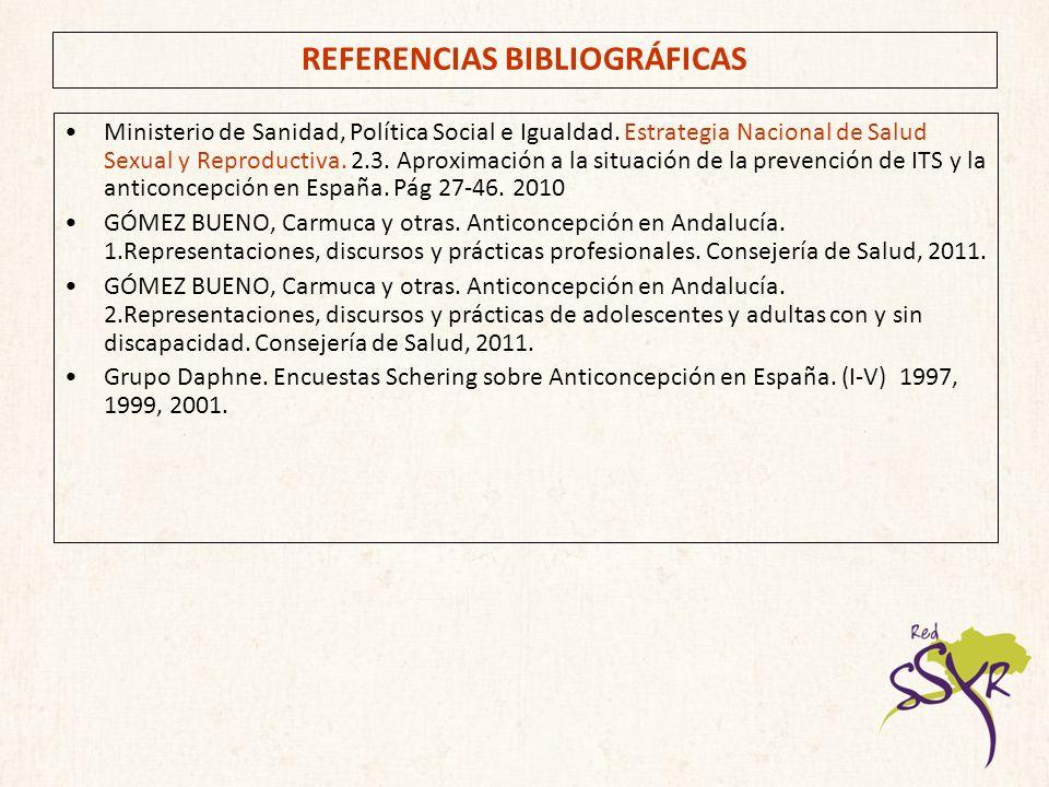REFERENCIAS BIBLIOGRÁFICAS Ministerio de Sanidad, Política Social e Igualdad. Estrategia Nacional de Salud Sexual y Reproductiva. 2.3. Aproximación a