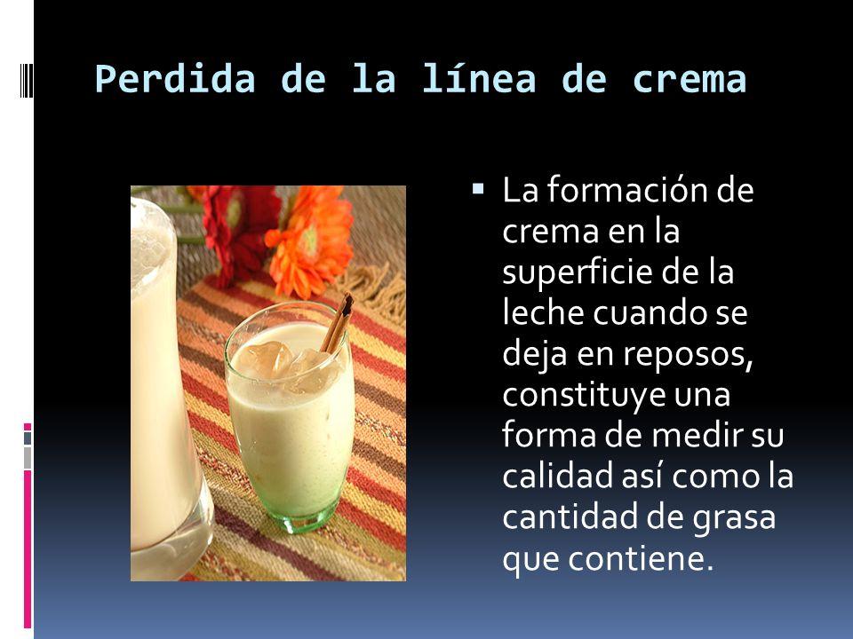 Perdida de la línea de crema La formación de crema en la superficie de la leche cuando se deja en reposos, constituye una forma de medir su calidad as
