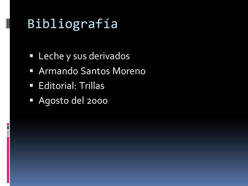 Bibliografía Leche y sus derivados Armando Santos Moreno Editorial: Trillas Agosto del 2000