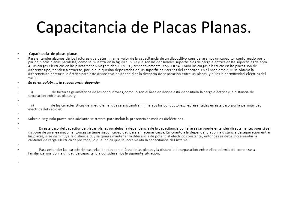 Capacitancia de Placas Planas. Capacitancia de placas planas: Para entender algunos de los factores que determinan el valor de la capacitancia de un d