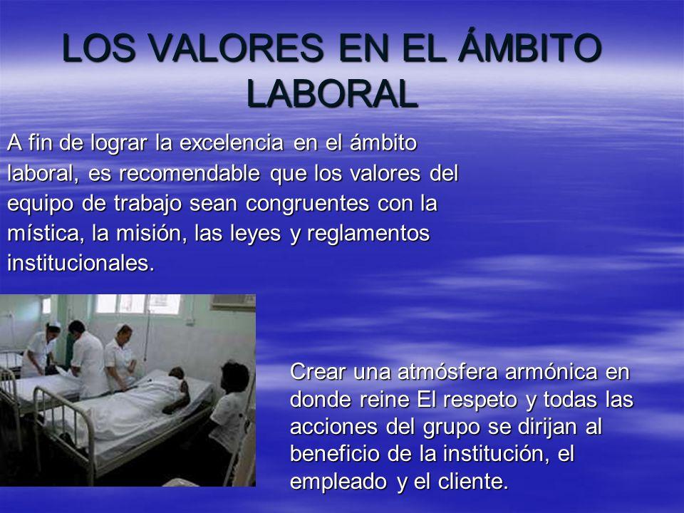 LOS VALORES EN EL ÁMBITO LABORAL A fin de lograr la excelencia en el ámbito laboral, es recomendable que los valores del equipo de trabajo sean congru