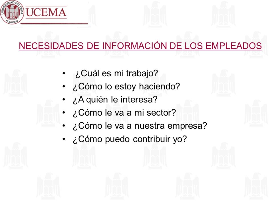 NECESIDADES DE INFORMACIÓN DE LOS EMPLEADOS ¿Cuál es mi trabajo? ¿Cómo lo estoy haciendo? ¿A quién le interesa? ¿Cómo le va a mi sector? ¿Cómo le va a