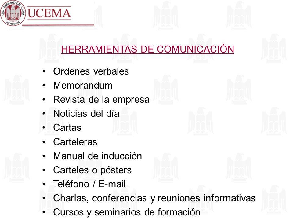 HERRAMIENTAS DE COMUNICACIÓN Ordenes verbales Memorandum Revista de la empresa Noticias del día Cartas Carteleras Manual de inducción Carteles o póste