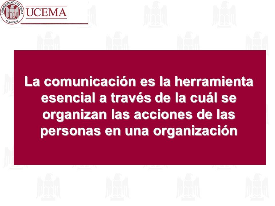 La comunicación es la herramienta esencial a través de la cuál se organizan las acciones de las personas en una organización