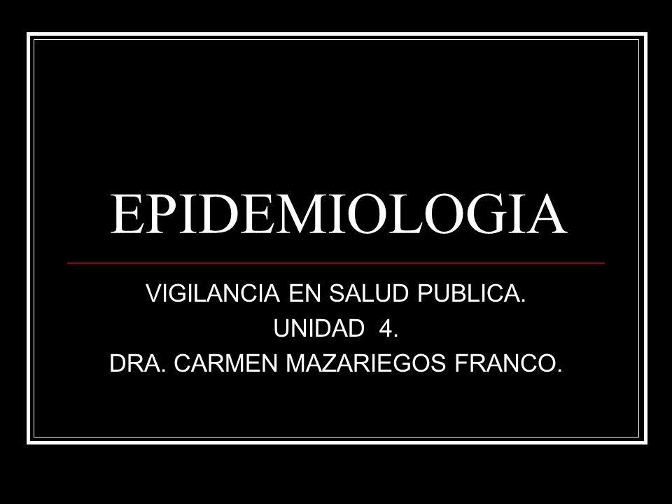 EPIDEMIOLOGIA VIGILANCIA EN SALUD PUBLICA. UNIDAD 4. DRA. CARMEN MAZARIEGOS FRANCO.
