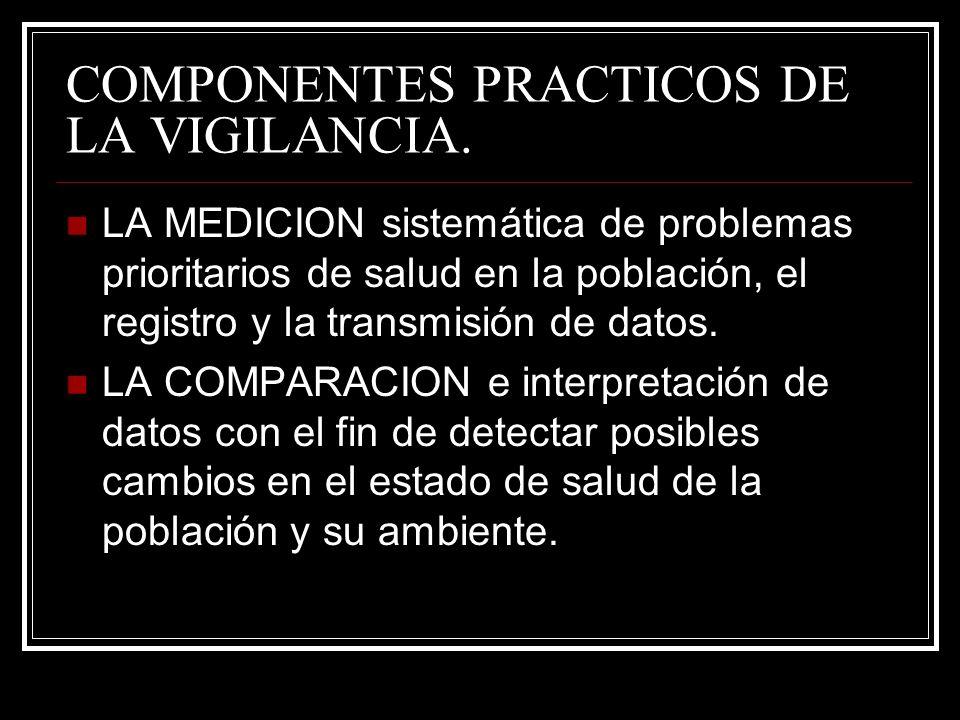 COMPONENTES PRACTICOS DE LA VIGILANCIA. LA MEDICION sistemática de problemas prioritarios de salud en la población, el registro y la transmisión de da