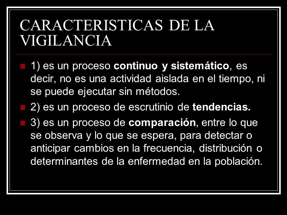 CARACTERISTICAS DE LA VIGILANCIA 1) es un proceso continuo y sistemático, es decir, no es una actividad aislada en el tiempo, ni se puede ejecutar sin