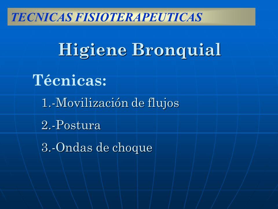 Higiene Bronquial 1.-Movilización de flujos 2.-Postura 3.-Ondas de choque Técnicas: TECNICAS FISIOTERAPEUTICAS