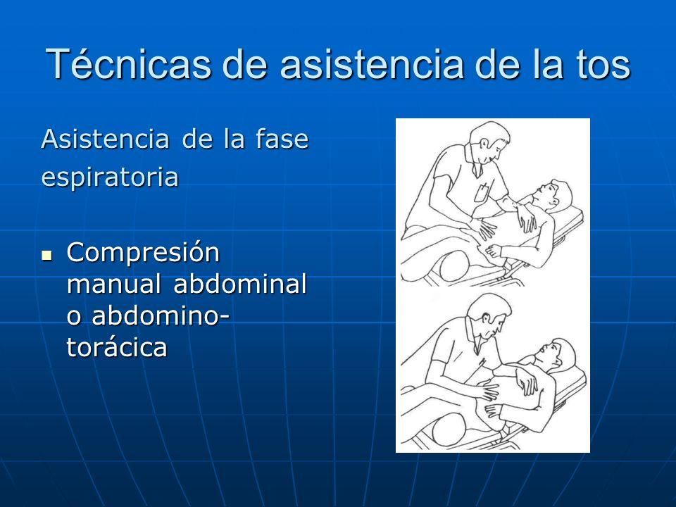 Técnicas de asistencia de la tos Asistencia de la fase espiratoria Compresión manual abdominal o abdomino- torácica Compresión manual abdominal o abdo