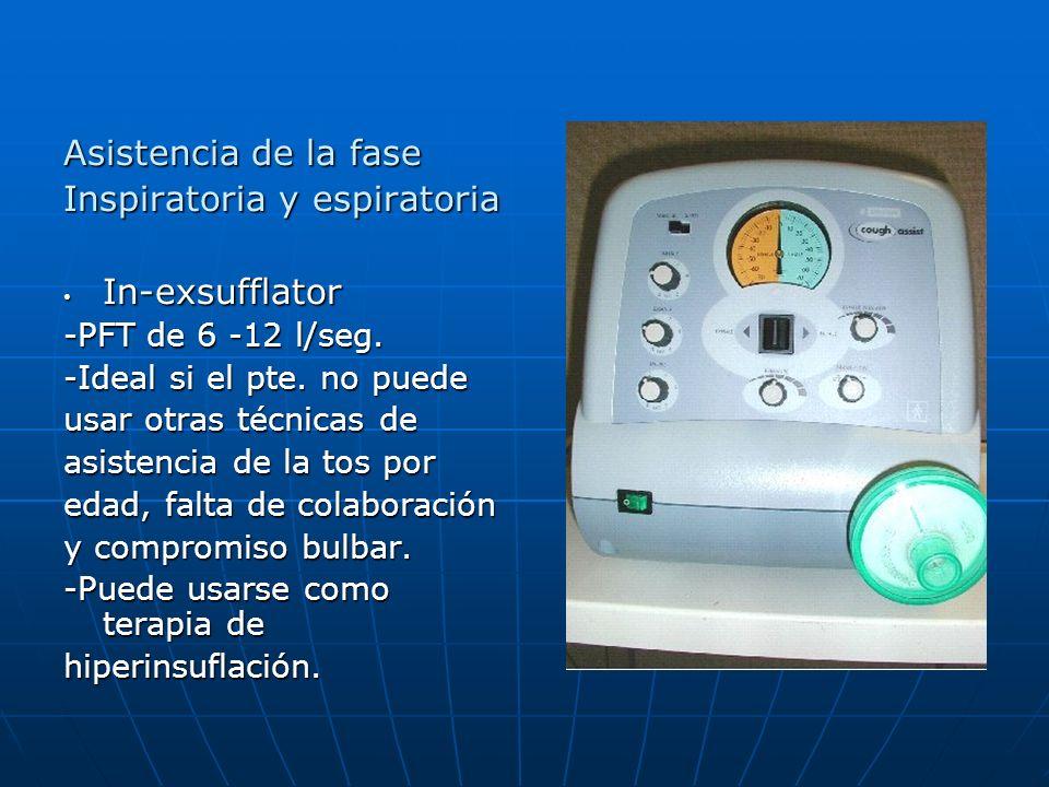 Asistencia de la fase Inspiratoria y espiratoria In-exsufflator In-exsufflator -PFT de 6 -12 l/seg. -Ideal si el pte. no puede usar otras técnicas de