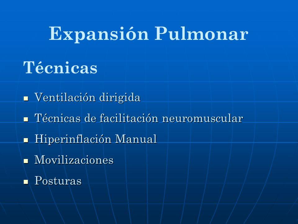 Ventilación dirigida Ventilación dirigida Técnicas de facilitación neuromuscular Técnicas de facilitación neuromuscular Hiperinflación Manual Hiperinf