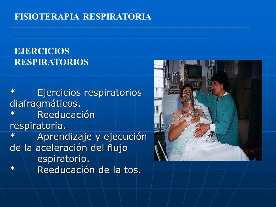 FISIOTERAPIA RESPIRATORIA EJERCICIOS RESPIRATORIOS *Ejercicios respiratorios diafragmáticos. *Reeducación respiratoria. *Aprendizaje y ejecución de la