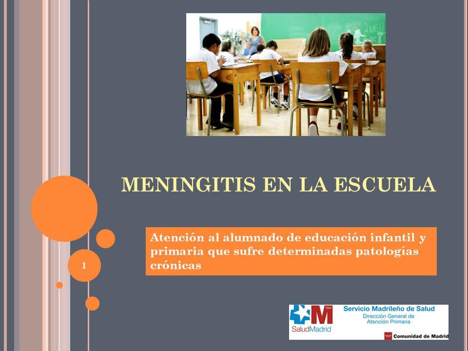 1 MENINGITIS EN LA ESCUELA Atención al alumnado de educación infantil y primaria que sufre determinadas patologías crónicas