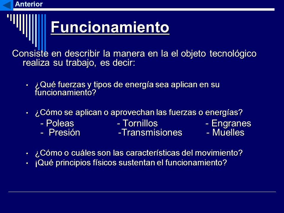 Funcionamiento Consiste en describir la manera en la el objeto tecnológico realiza su trabajo, es decir: ¿Qué fuerzas y tipos de energía sea aplican e
