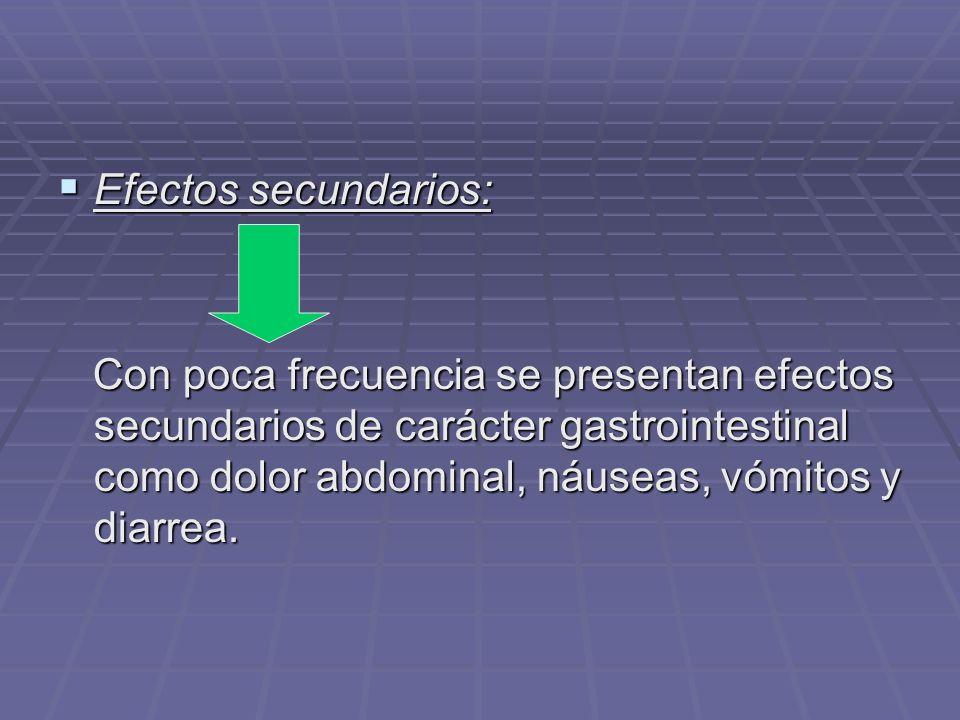 Efectos secundarios: Efectos secundarios: Con poca frecuencia se presentan efectos secundarios de carácter gastrointestinal como dolor abdominal, náus