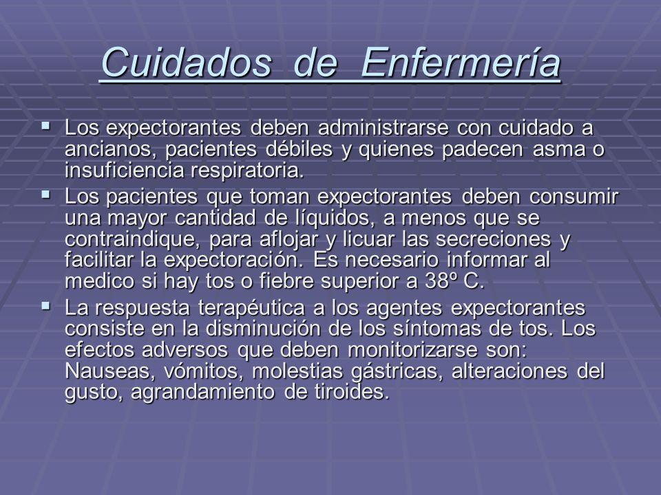 Cuidados de Enfermería Los expectorantes deben administrarse con cuidado a ancianos, pacientes débiles y quienes padecen asma o insuficiencia respirat