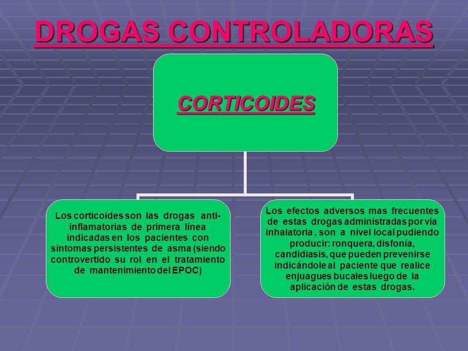 DROGAS CONTROLADORAS CORTICOIDES Los corticoides son las drogas anti- inflamatorias de primera línea indicadas en los pacientes con síntomas persisten