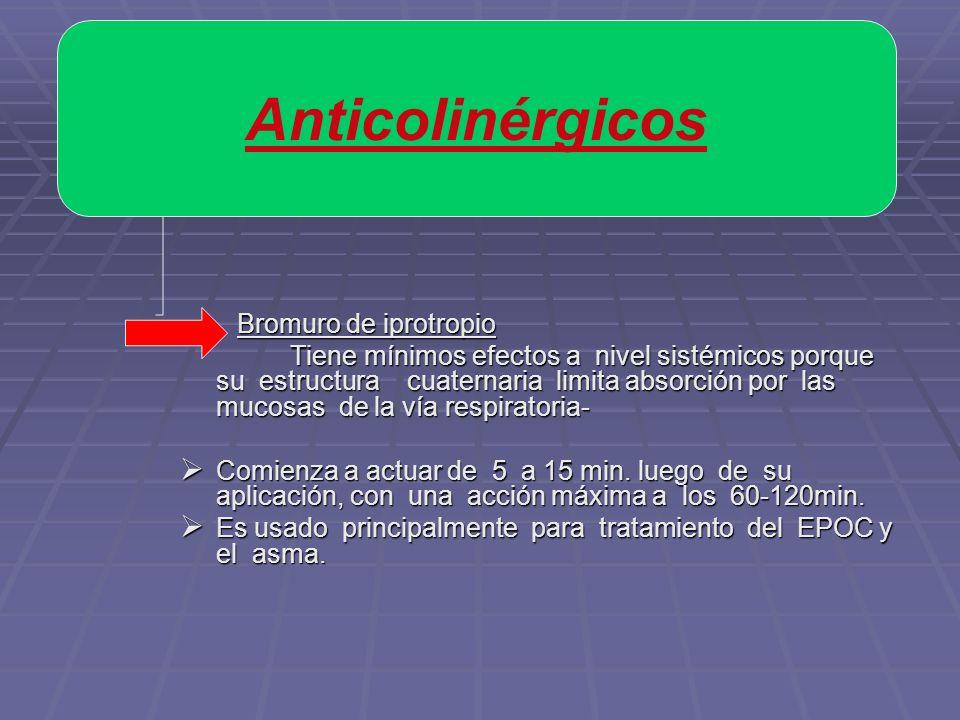 Bromuro de iprotropio Bromuro de iprotropio Tiene mínimos efectos a nivel sistémicos porque su estructura cuaternaria limita absorción por las mucosas