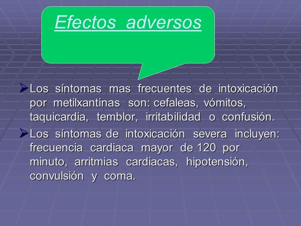 Los síntomas mas frecuentes de intoxicación por metilxantinas son: cefaleas, vómitos, taquicardia, temblor, irritabilidad o confusión. Los síntomas ma