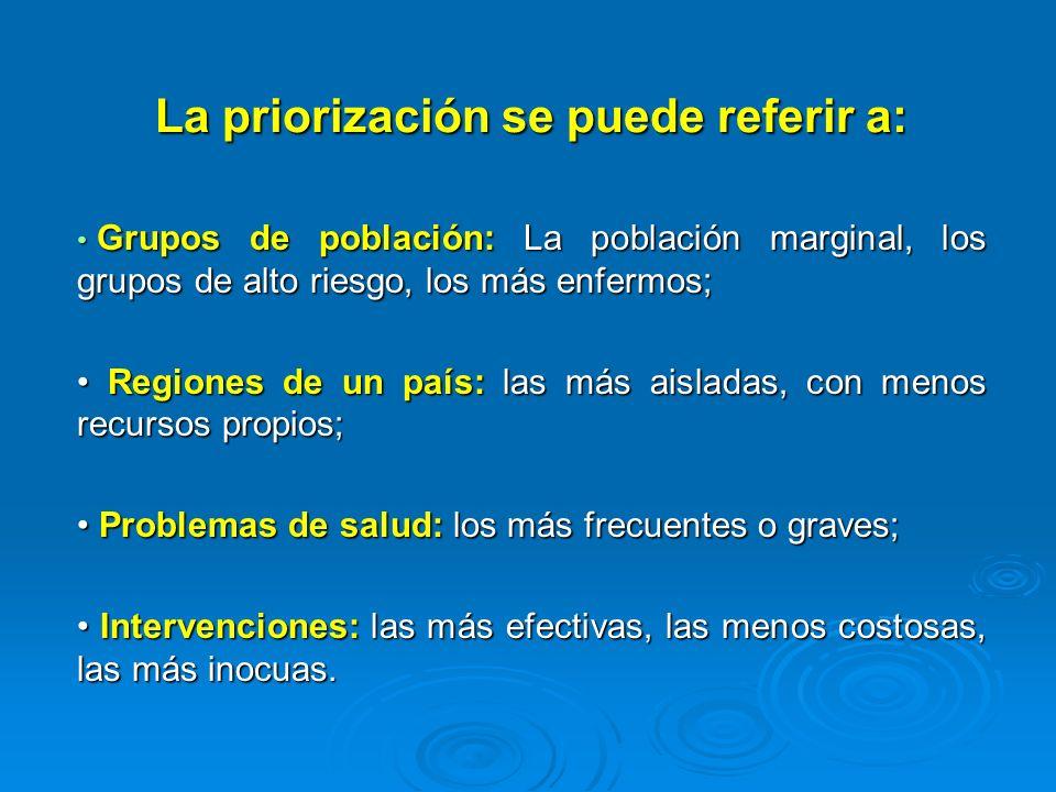 La priorización se puede referir a: Grupos de población: La población marginal, los grupos de alto riesgo, los más enfermos; Grupos de población: La p