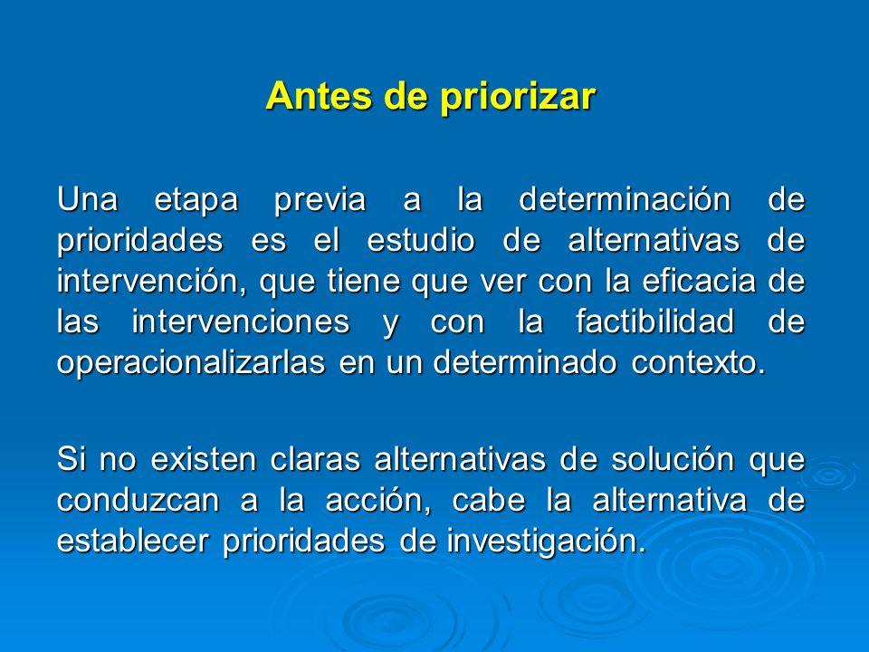 Antes de priorizar Una etapa previa a la determinación de prioridades es el estudio de alternativas de intervención, que tiene que ver con la eficacia